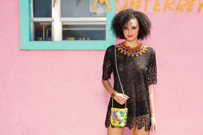 curly-hair-model-wearing-black-boho-chic-romper-700x467 Makeup Artist Portfolio